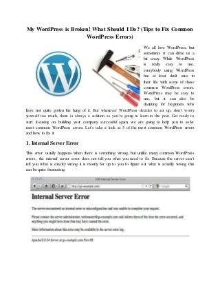 Tips to Fix Common WordPress Errors)
