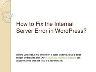 Word press internal server error