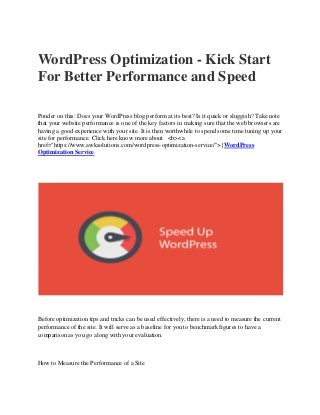 Word press optimization kick start for better performance and speed