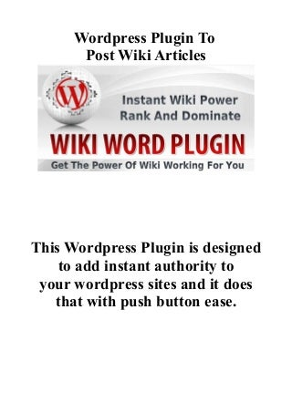 Wordpress Plugin To Post Wiki Articles - Best Wiki Plugin For WordPress