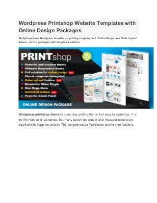 Wordpress printshop website templates with online design packages