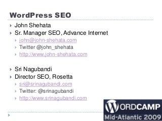 Wordpress Search Engine (SEO)