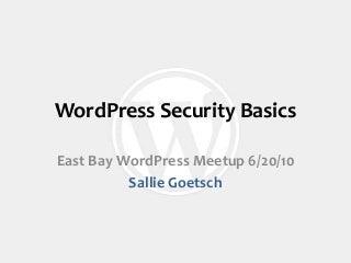 Word press security basics