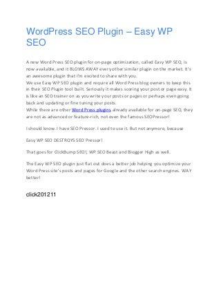 WordPress SEO Plugin - Easy WP SEO