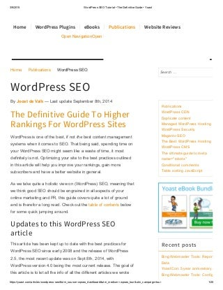 The Definitive Guide To Higher Rankings For WordPress Sites: WordPress SEO plugin tutorial via Yoast