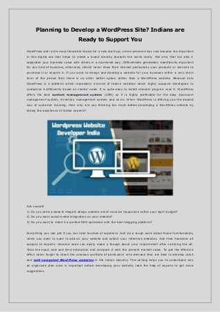 Planning to Develop a WordPress Site? Indians are Ready to Support You