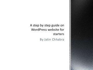 Setting WordPress website guide for starters
