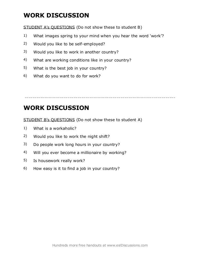 esl discussion questions
