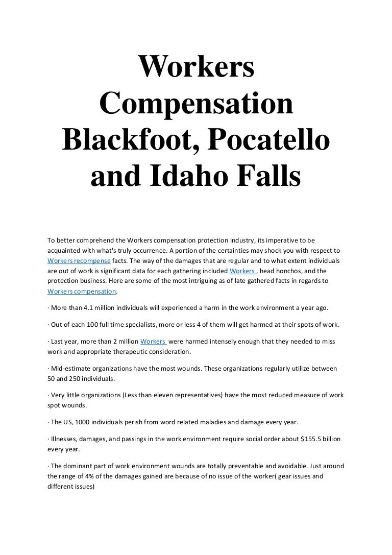 Workers Compensation Blackfoot Pocatello And Idaho Falls