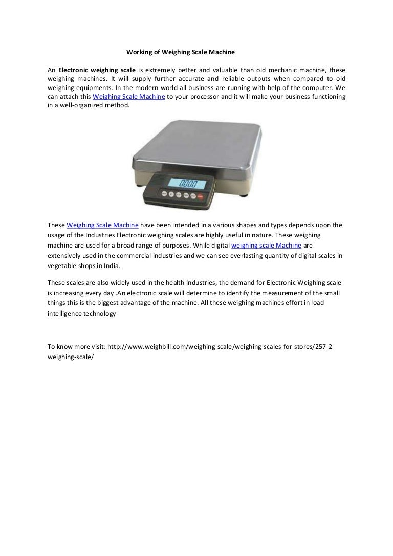 Working of electronic weighing scale