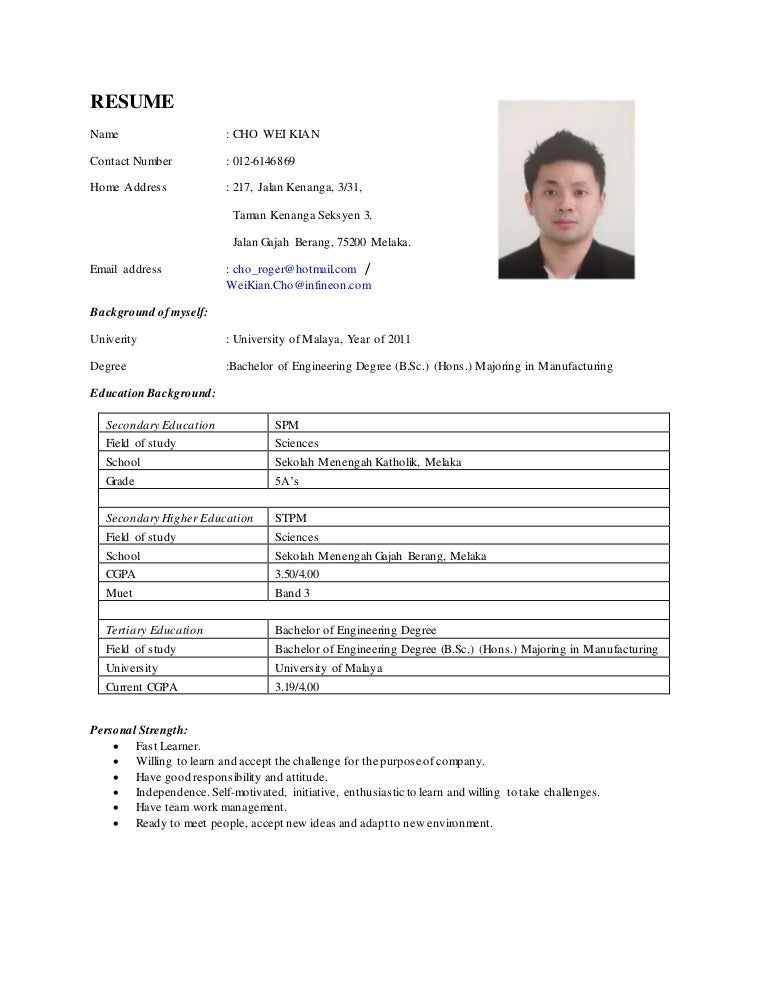 roger cho working resume