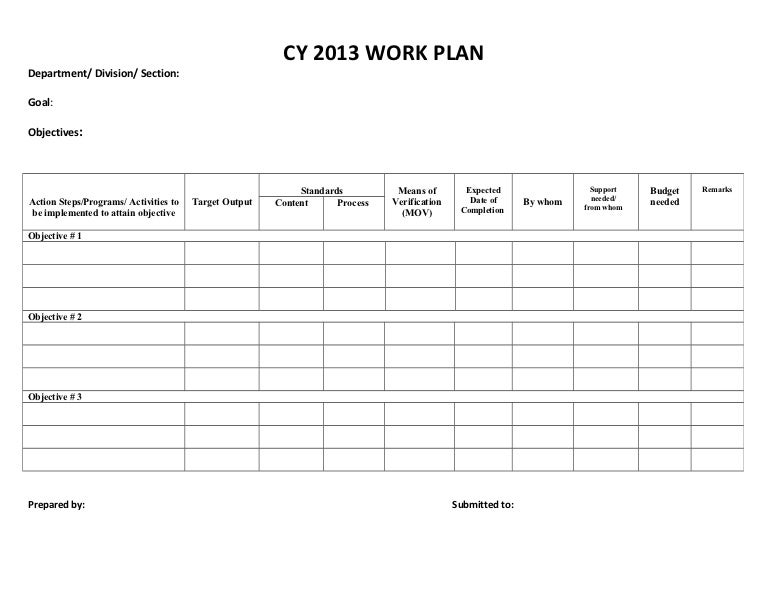 Cy  Work Plan Sample Form