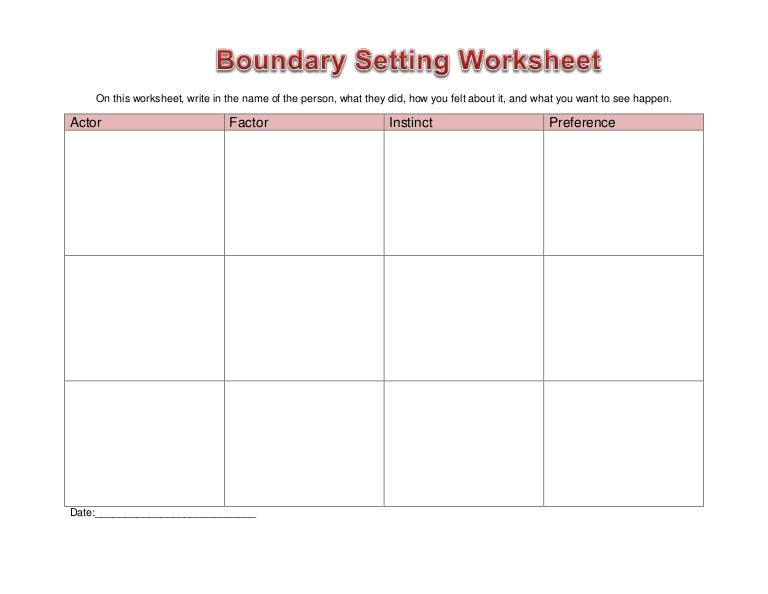 Worksheet boundary setting – Boundaries Worksheets