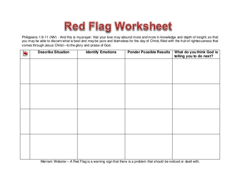Worksheet Red Flag