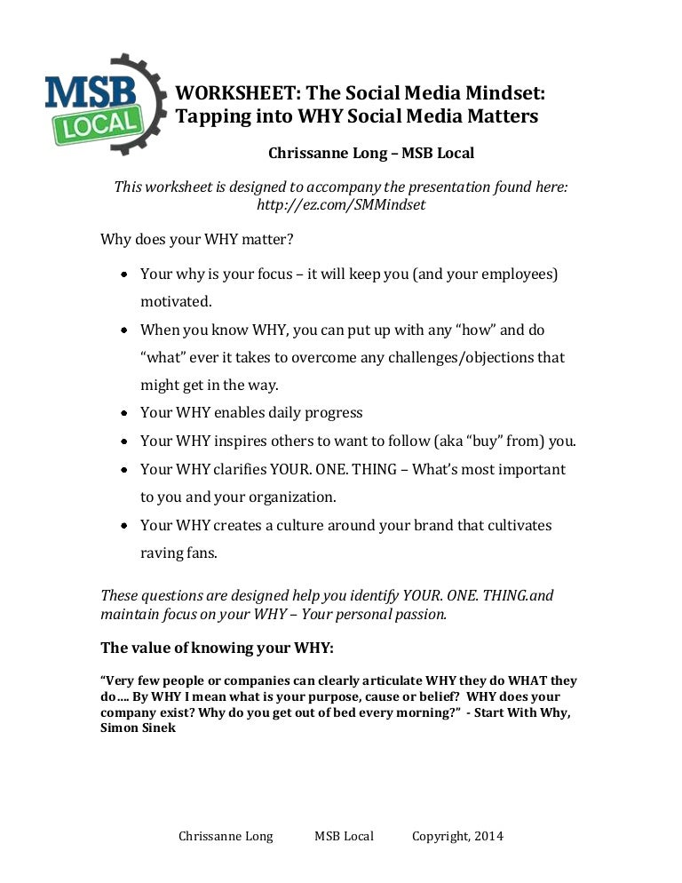 Worksheet The Social Media Mindset Tapping into WHY it Matters – Ez Worksheet