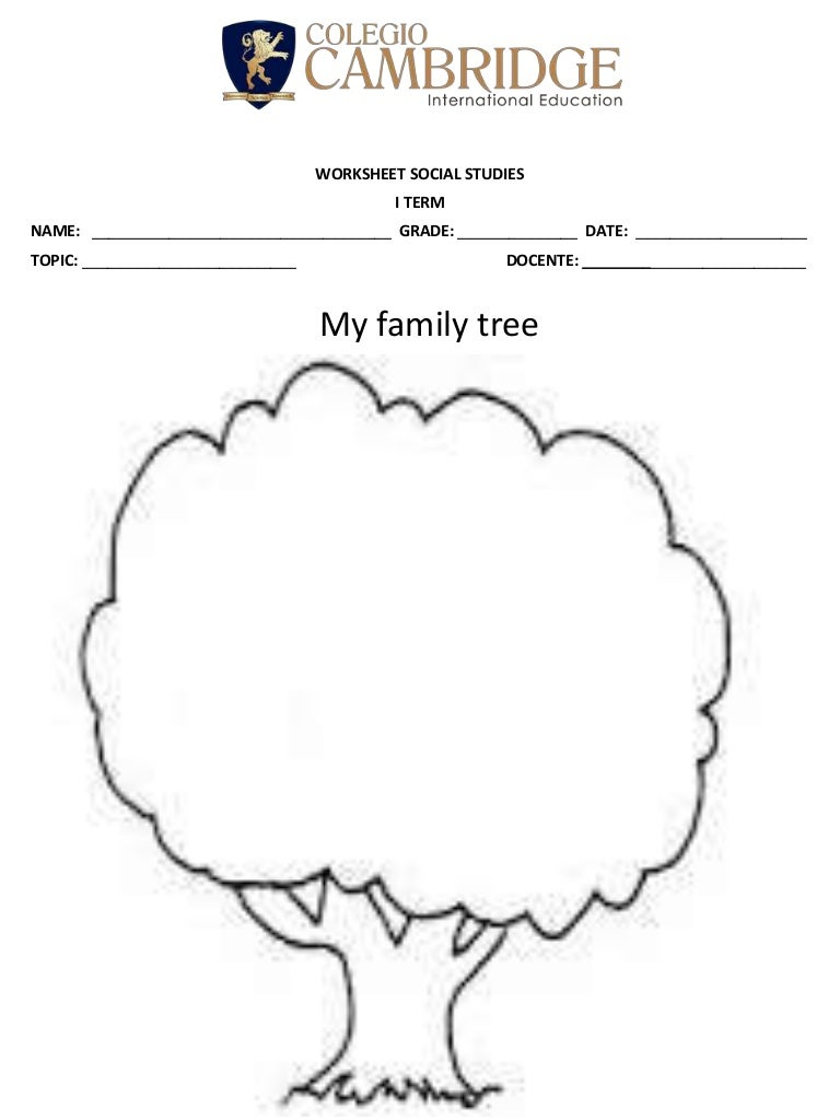 Worksheet 2 my family tree
