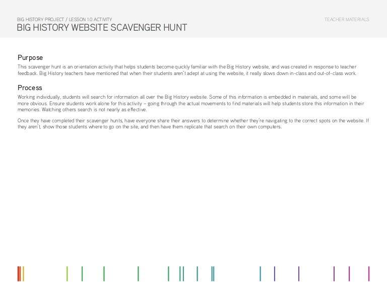 Lesson 1 0 Activity Big History Website Scavenger Hunt