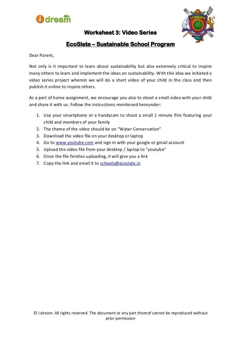 Water Worksheet 3 Video Series EcoSlate 2014