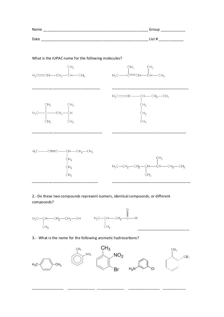 Worksheet 3 alkenes alkynes – Naming Alkenes Worksheet