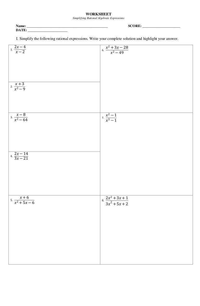 Worksheet on Simplifying Rational Algebraic Expressions