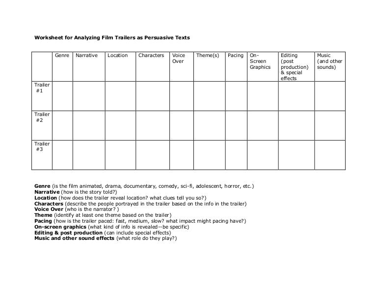 Worksheet for analyzing film trailers as persuasive texts – Film Analysis Worksheet