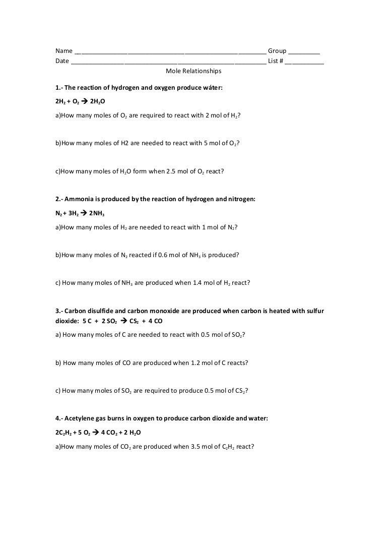 Mole Problems Worksheet – careless.me
