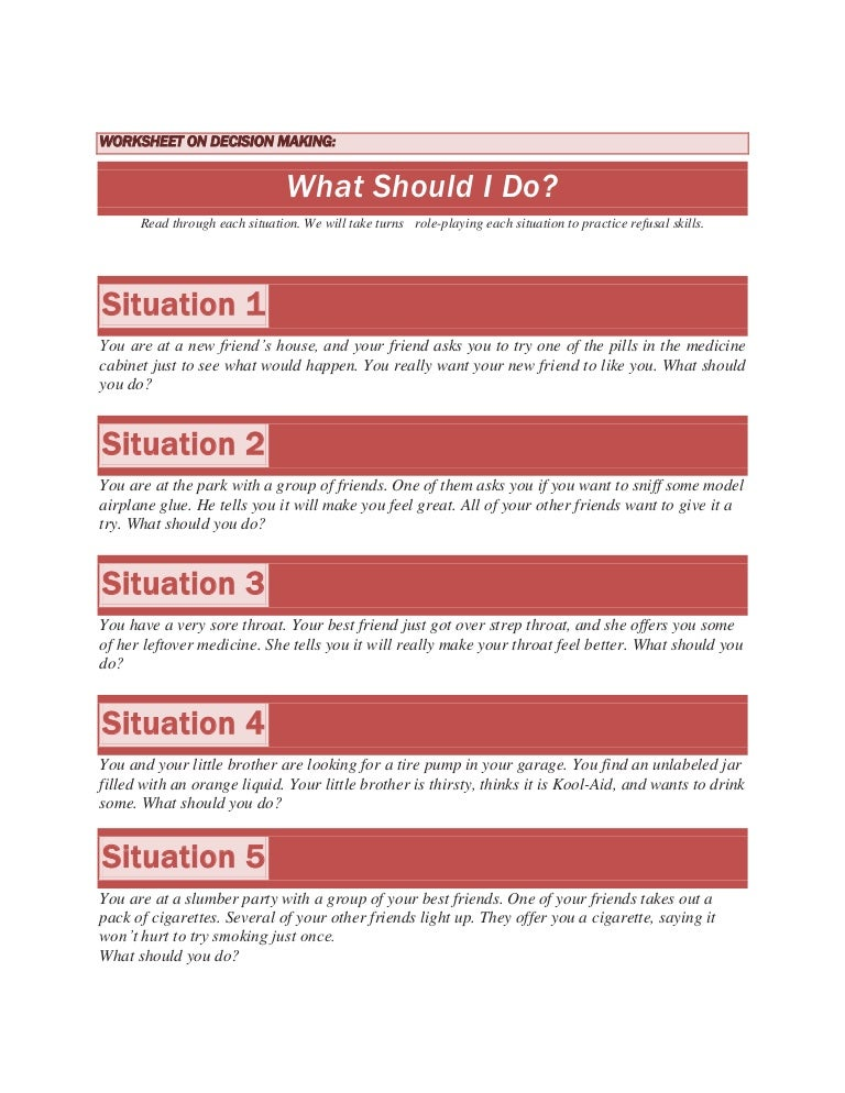 Worksheet on decision making – Decision Making Worksheet