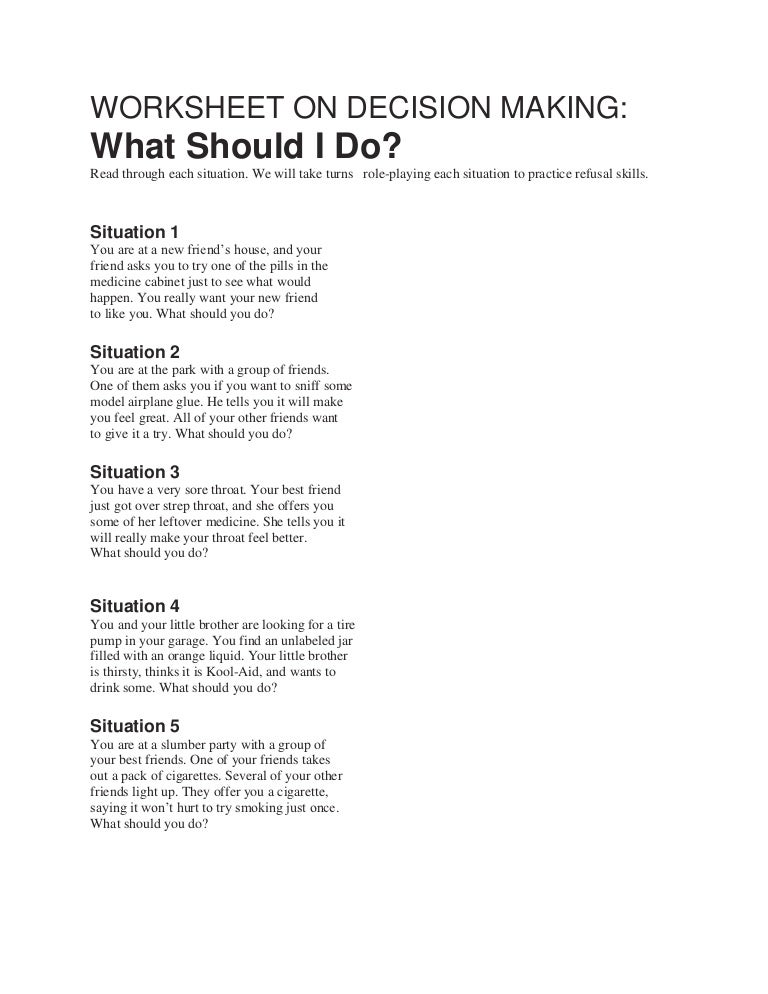 Printables Decision Making Worksheet worksheet on decision making