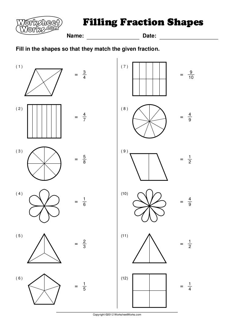 worksheet works filling fraction shapes 1. Black Bedroom Furniture Sets. Home Design Ideas