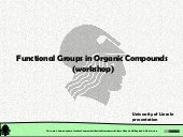 Organic Chemistry: Classification of Organic Compounds: Seminar