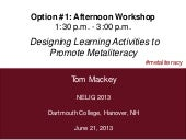 Designing Learning Activities to Promote Metaliteracy