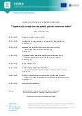 Agenda, Workshop on the impact of corruption on public procurement market, Tirana,