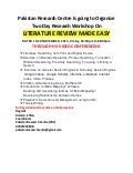Workshop on literature review made easy
