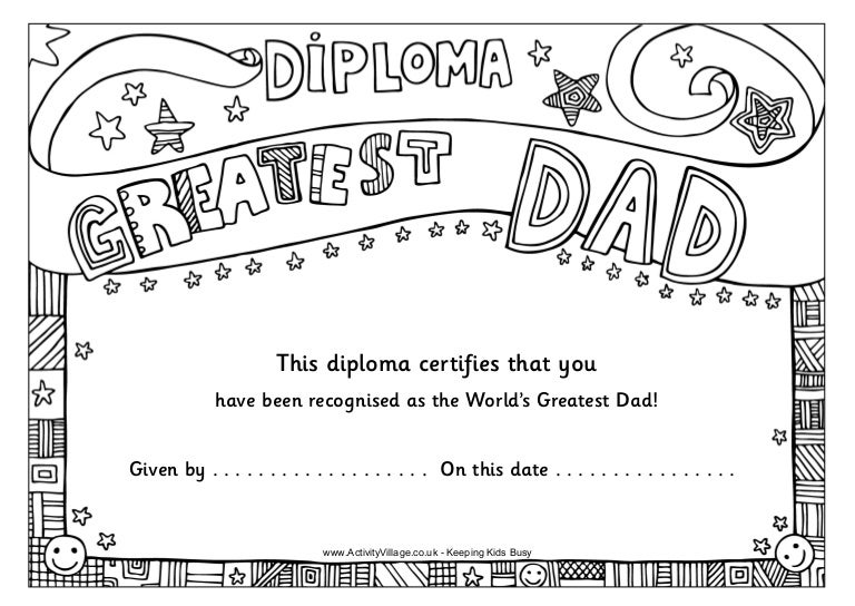 coloring pages fathers day certificates | Worlds greatest dad_diploma_uk