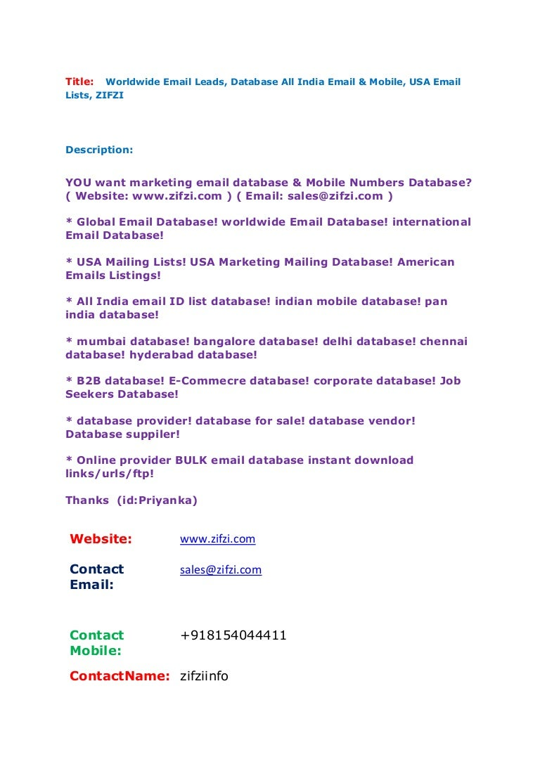 Worldwide email leads, database all india email & mobile, usa email l…