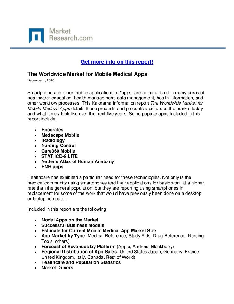 Worldwide Market for Mobile Medical Apps, The