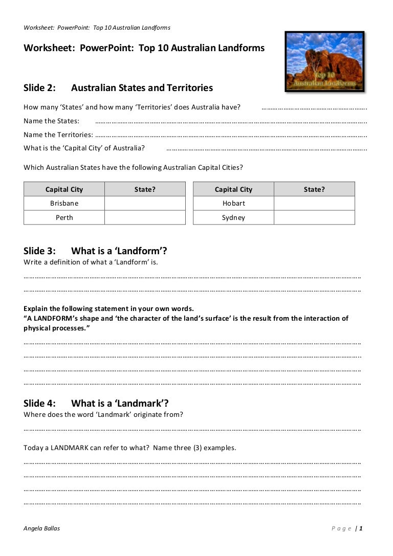 Worksheet Top 10 Australian Landforms