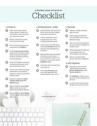 WordPress Admin Optimization Checklist