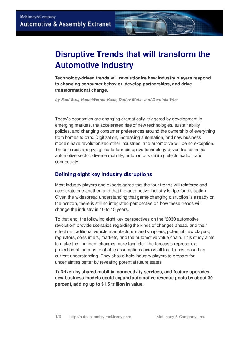 Disruptive Trends That Will Transform The Automotive Industry