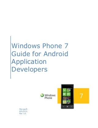 Windows Phone 7 Guide for Android Application Developers