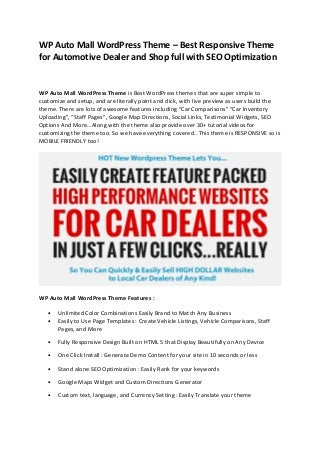 WP Auto Mall WordPress Theme Review Download - Best Responsive Theme for Automotive Dealer and Shop full with SEO Optimization