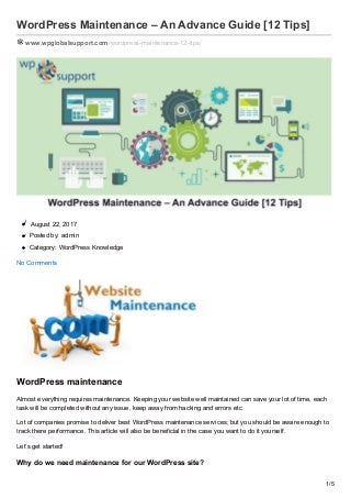 Wpglobalsupport.com word press maintenance an advance guide 12 tips