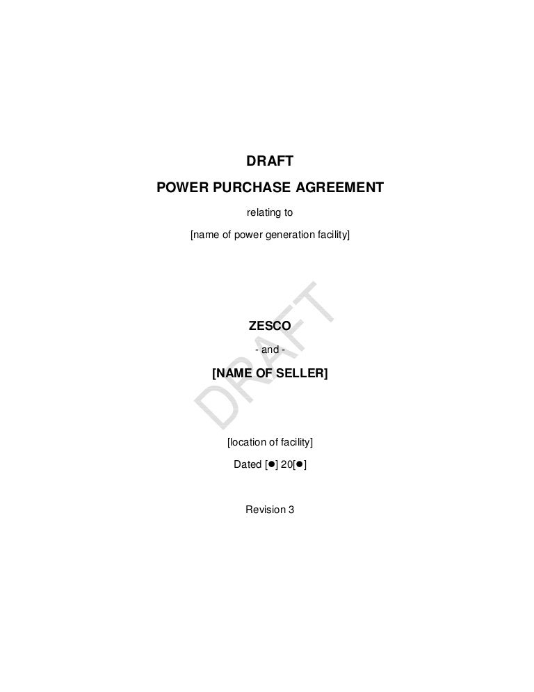 Zambia Draft Renewable Energy Feed-In Tarriff Power Purchase Agreement
