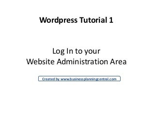 Wordpress Introductory Tutorials #1