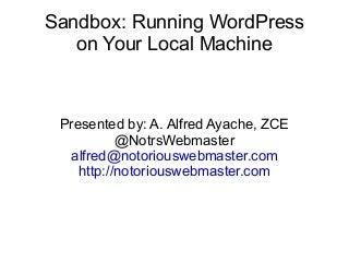 WP Sandbox Presentation WordCamp Toronto 2011
