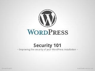 WordPress Security 101