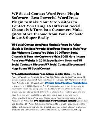 WP Social Contact WordPress Plugin Software