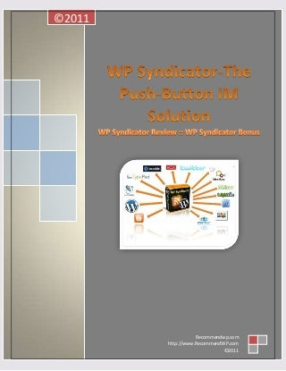 WP Syndicator Review - The Push Button Internet Marketing Solution