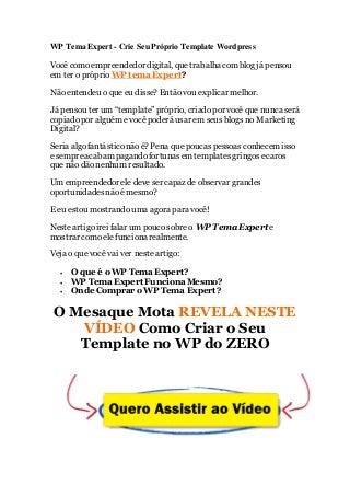 Wp tema expert - Crie o Seu Template WordPress do Zero