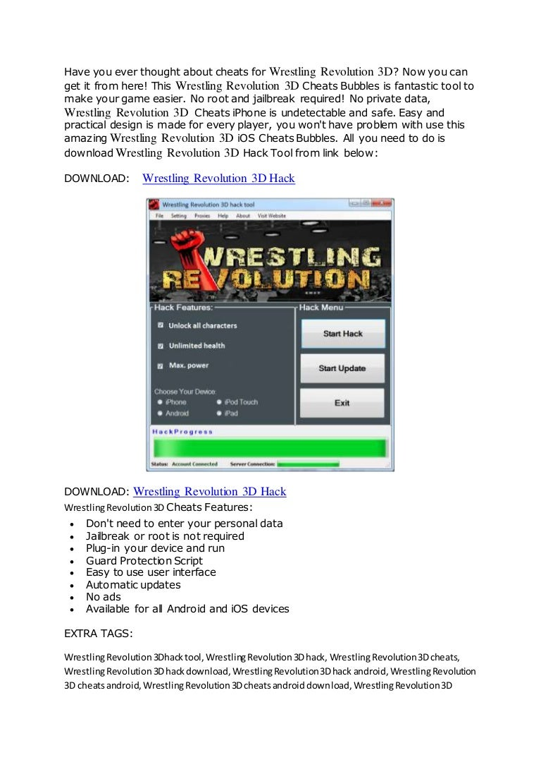 Wrestling Revolution 3D Hack for power and health